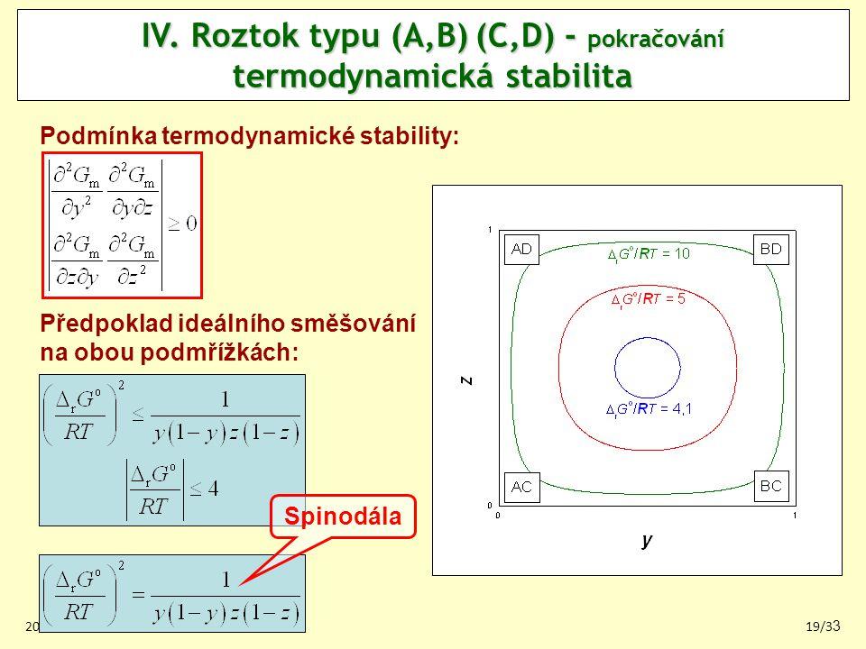 IV. Roztok typu (A,B) (C,D) - pokračování termodynamická stabilita