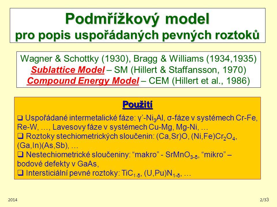 Podmřížkový model pro popis uspořádaných pevných roztoků