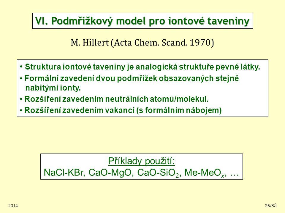 VI. Podmřížkový model pro iontové taveniny