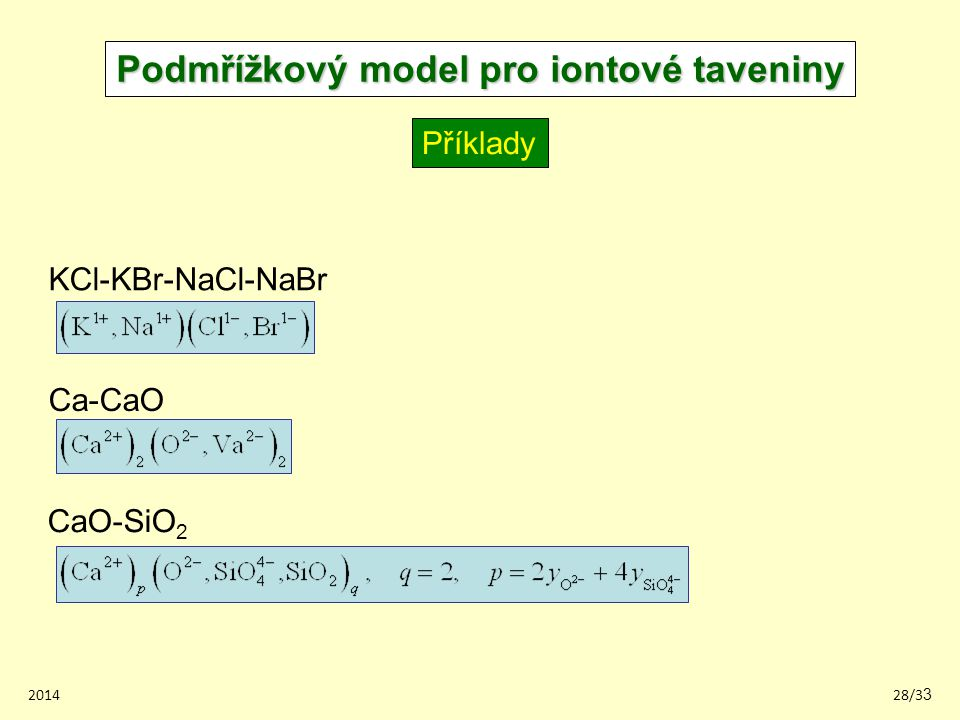 Podmřížkový model pro iontové taveniny