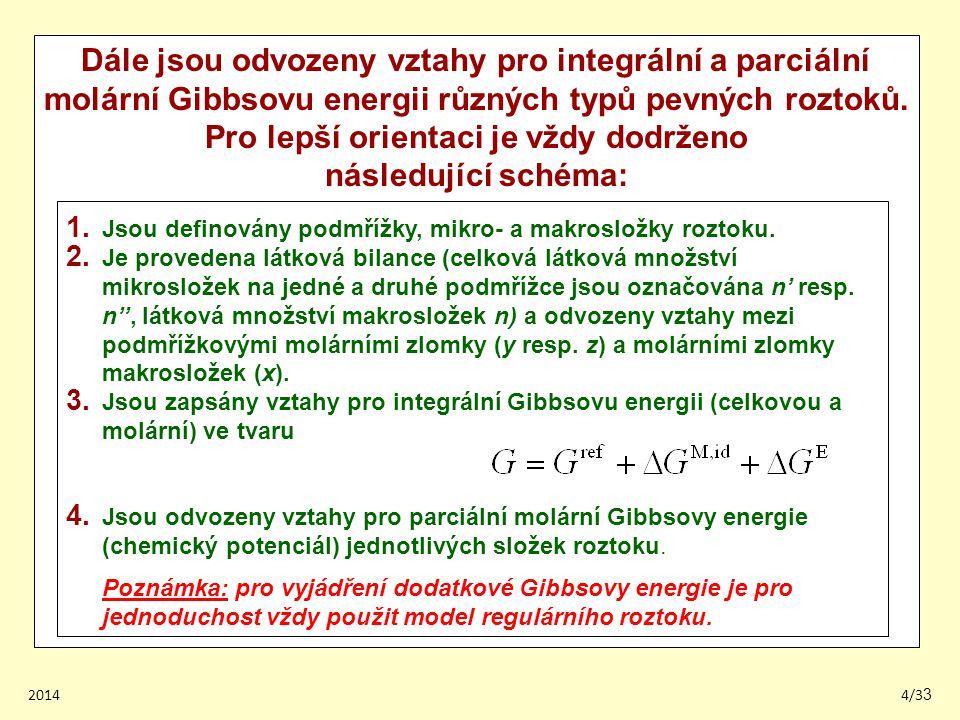 Dále jsou odvozeny vztahy pro integrální a parciální molární Gibbsovu energii různých typů pevných roztoků. Pro lepší orientaci je vždy dodrženo