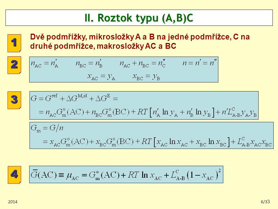 II. Roztok typu (A,B)C Dvě podmřížky, mikrosložky A a B na jedné podmřížce, C na druhé podmřížce, makrosložky AC a BC.