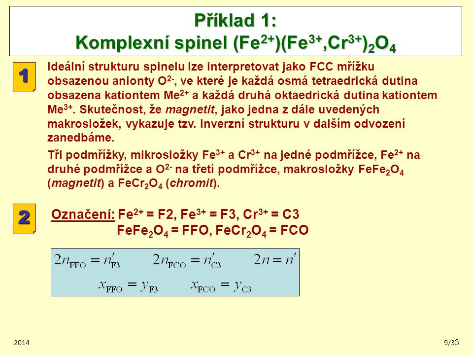 Příklad 1: Komplexní spinel (Fe2+)(Fe3+,Cr3+)2O4
