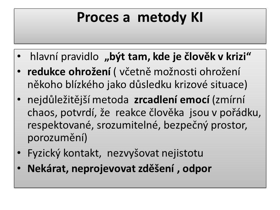 """Proces a metody KI hlavní pravidlo """"být tam, kde je člověk v krizi"""