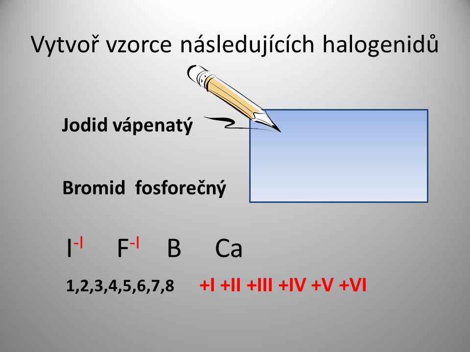 Vytvoř vzorce následujících halogenidů