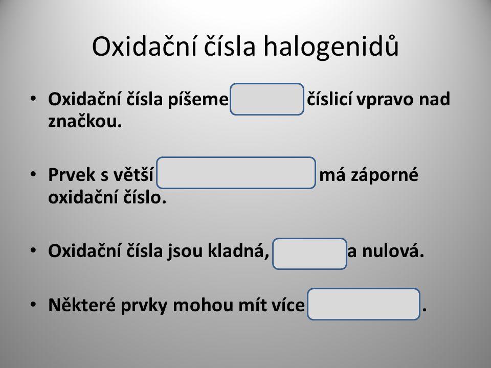 Oxidační čísla halogenidů