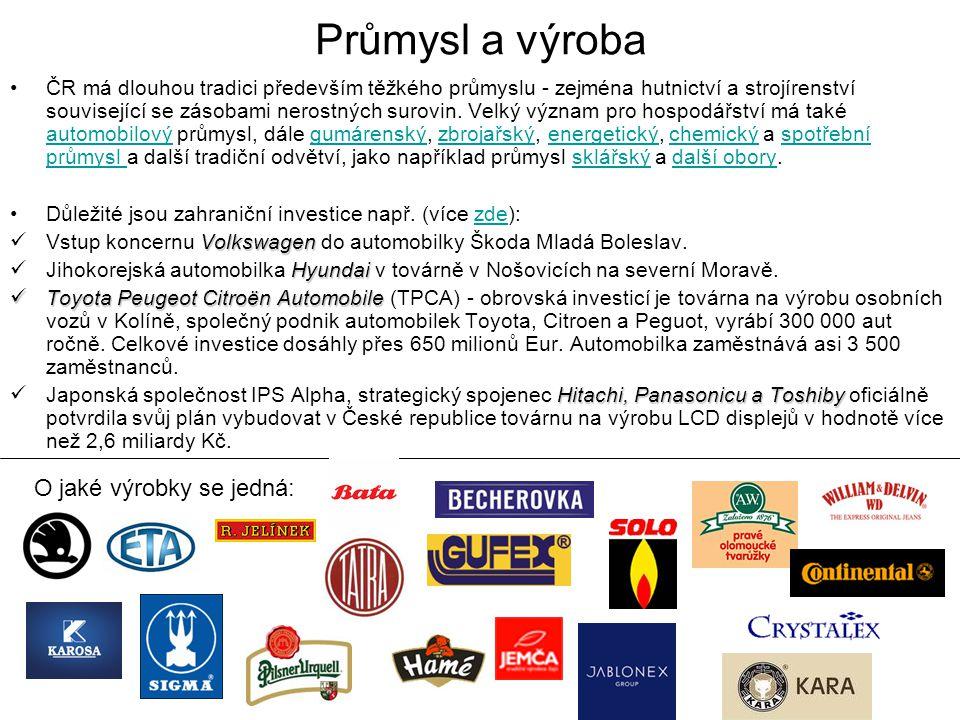 Průmysl a výroba O jaké výrobky se jedná:
