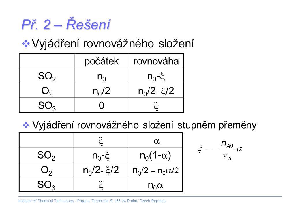 Př. 2 – Řešení Vyjádření rovnovážného složení počátek rovnováha SO2 n0