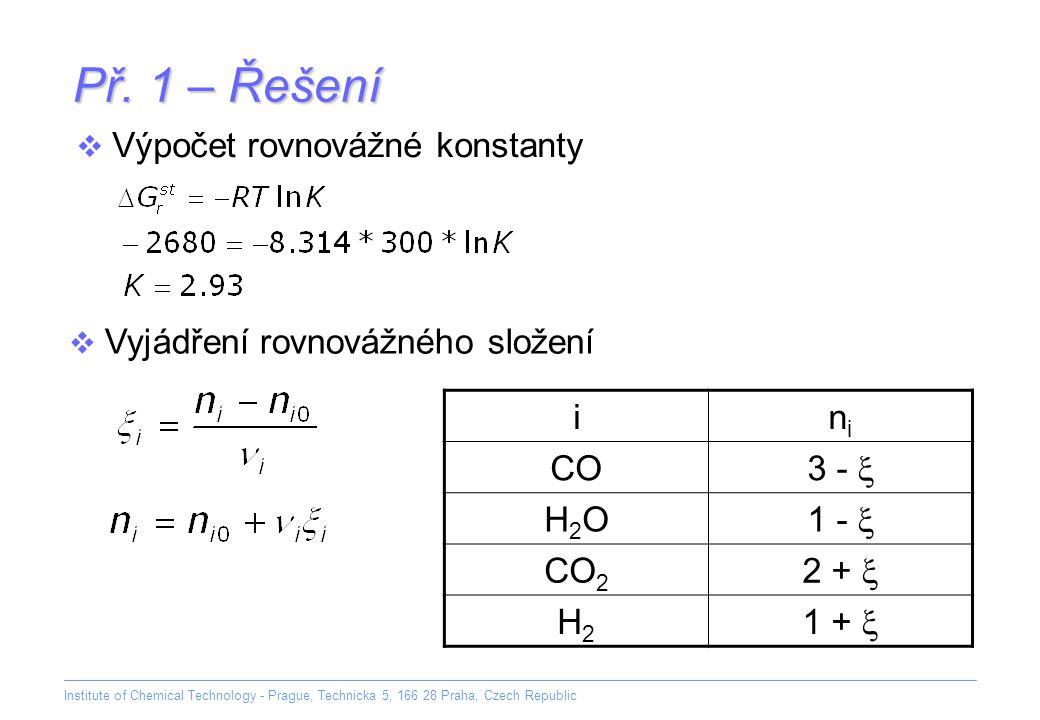 Př. 1 – Řešení Výpočet rovnovážné konstanty