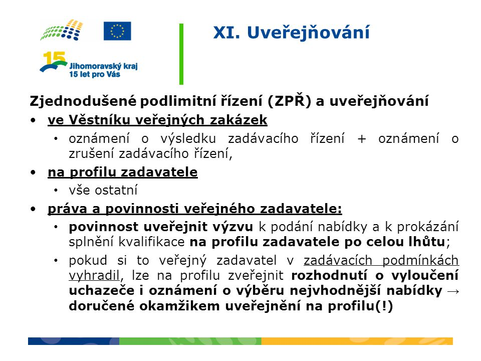 XI. Uveřejňování Zjednodušené podlimitní řízení (ZPŘ) a uveřejňování