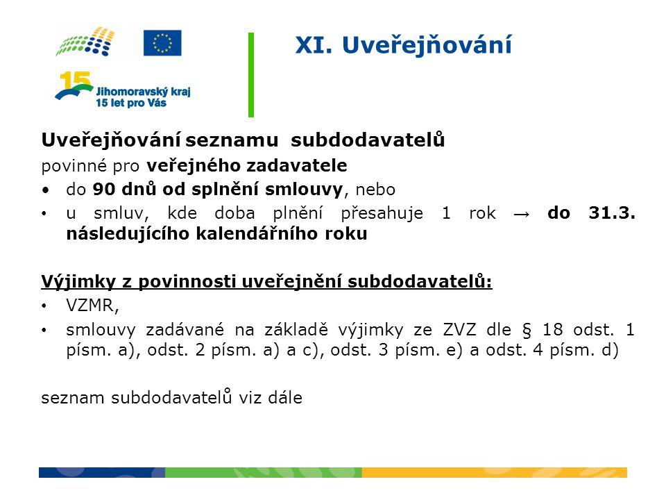 XI. Uveřejňování Uveřejňování seznamu subdodavatelů