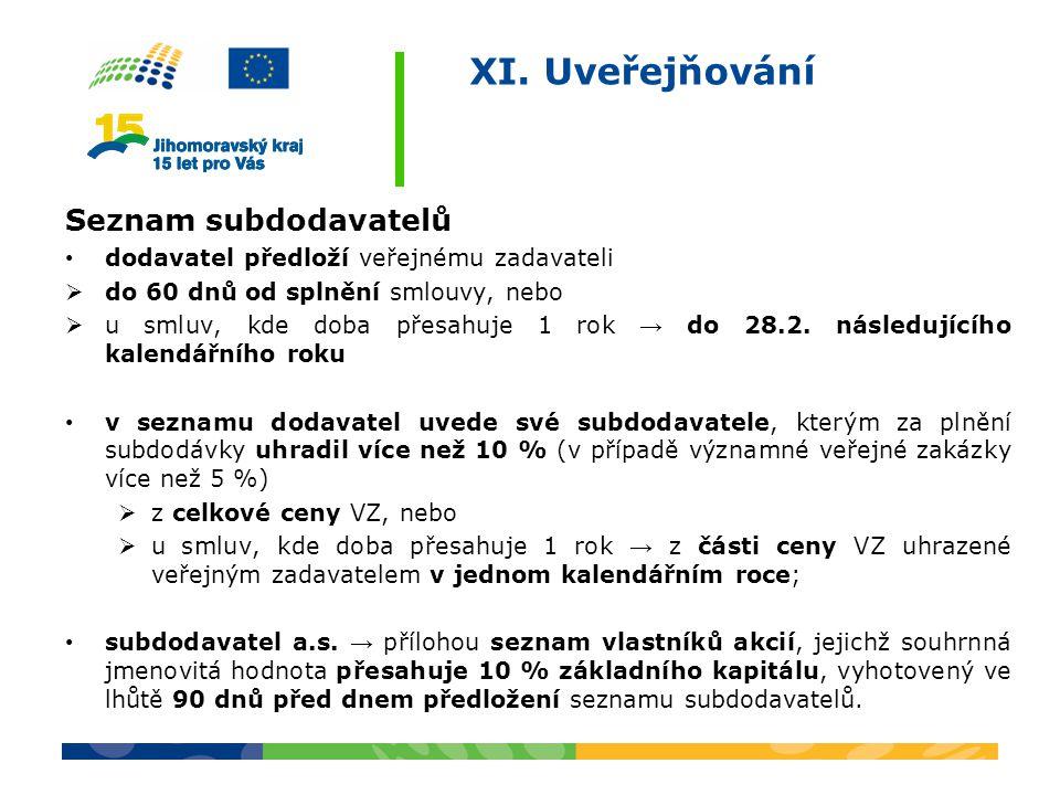 XI. Uveřejňování Seznam subdodavatelů