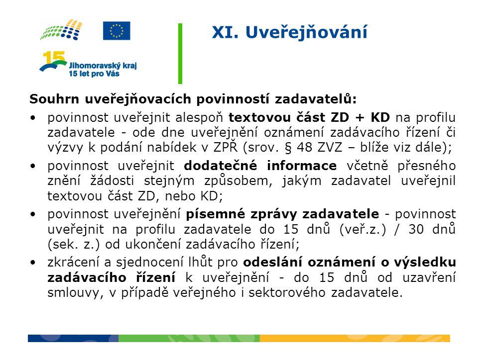 XI. Uveřejňování Souhrn uveřejňovacích povinností zadavatelů: