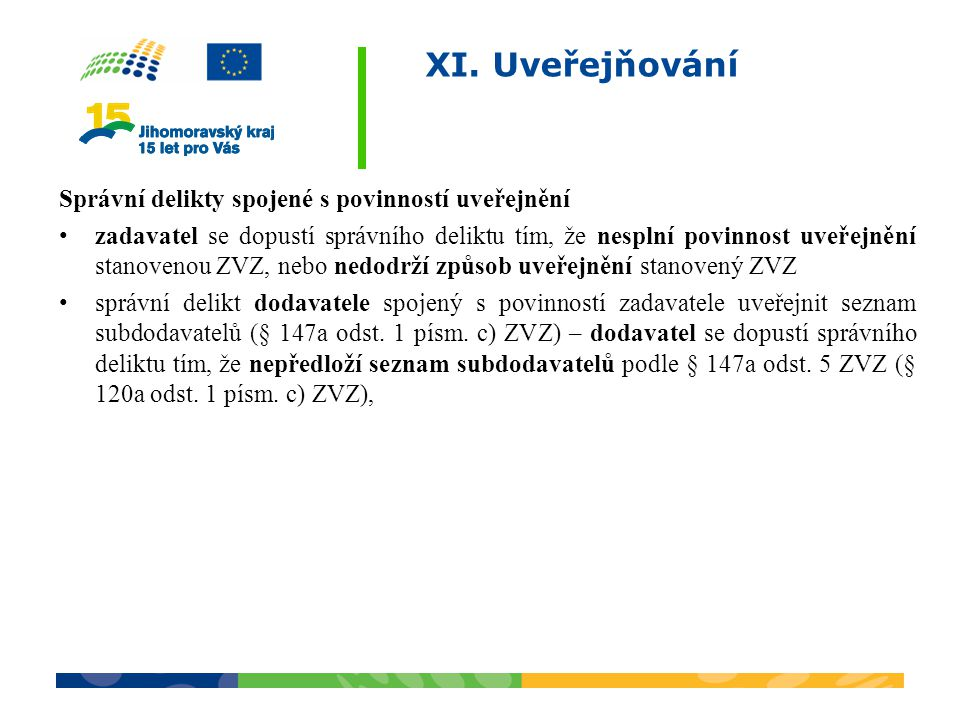 XI. Uveřejňování Správní delikty spojené s povinností uveřejnění