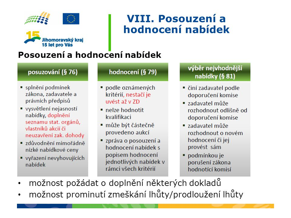 VIII. Posouzení a hodnocení nabídek