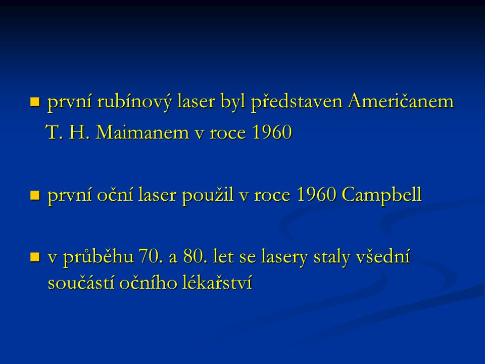první rubínový laser byl představen Američanem
