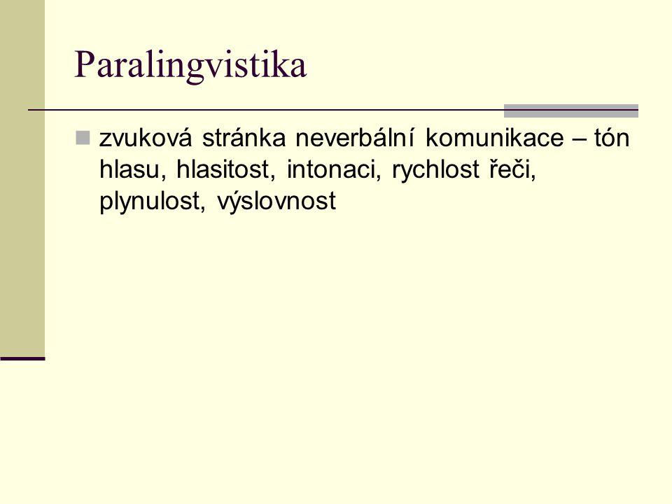 Paralingvistika zvuková stránka neverbální komunikace – tón hlasu, hlasitost, intonaci, rychlost řeči, plynulost, výslovnost.