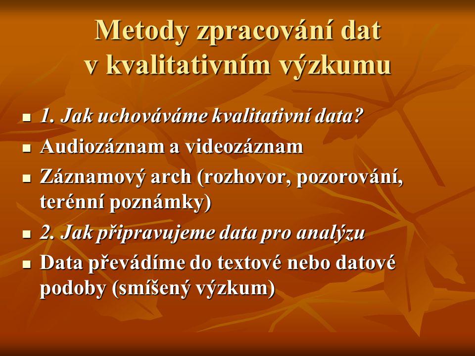 Metody zpracování dat v kvalitativním výzkumu