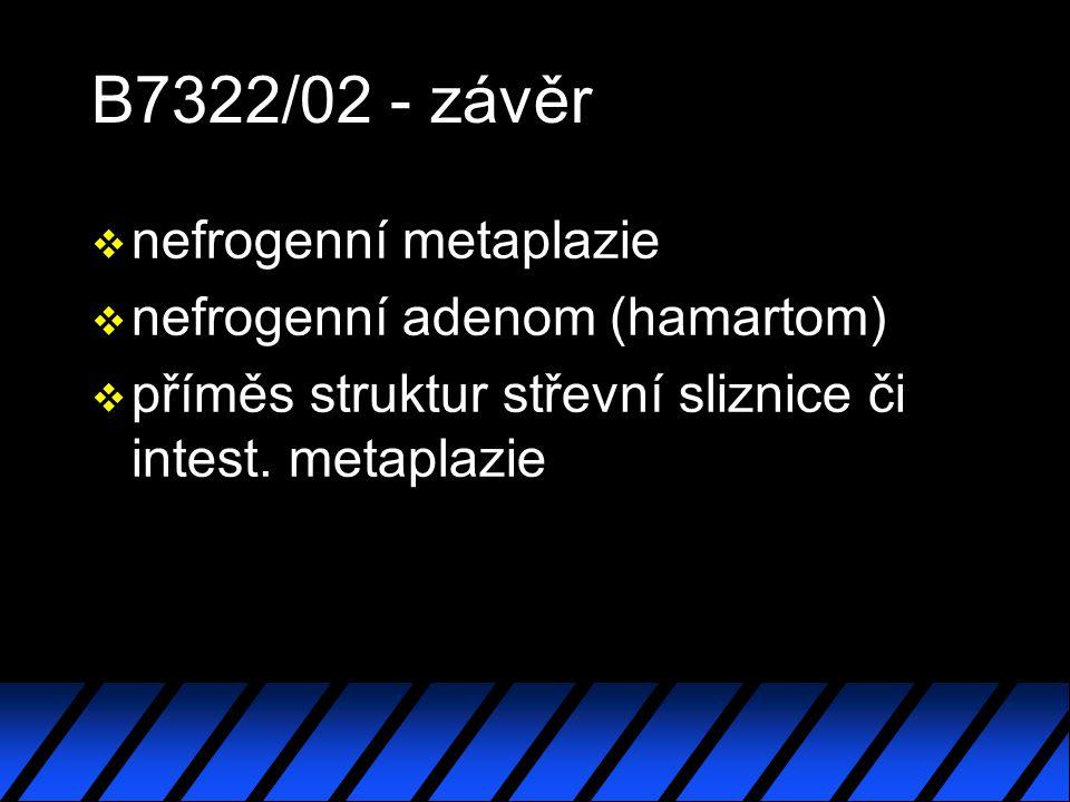 B7322/02 - závěr nefrogenní metaplazie nefrogenní adenom (hamartom)