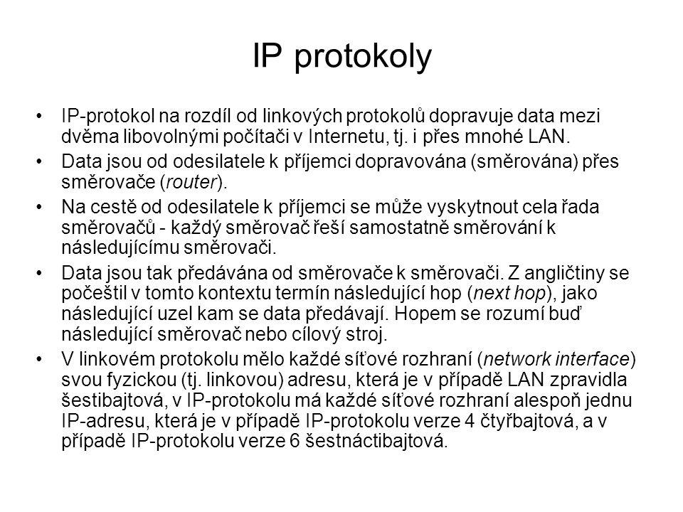 IP protokoly IP-protokol na rozdíl od linkových protokolů dopravuje data mezi dvěma libovolnými počítači v Internetu, tj. i přes mnohé LAN.