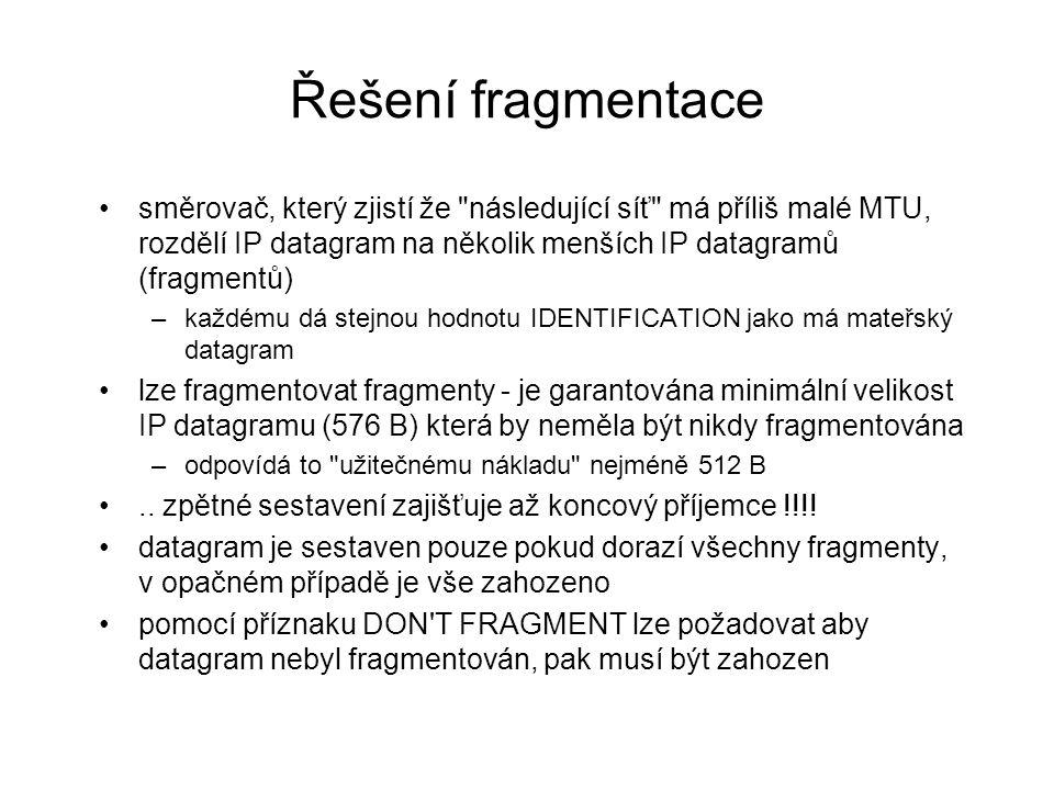 Řešení fragmentace směrovač, který zjistí že následující síť má příliš malé MTU, rozdělí IP datagram na několik menších IP datagramů (fragmentů)