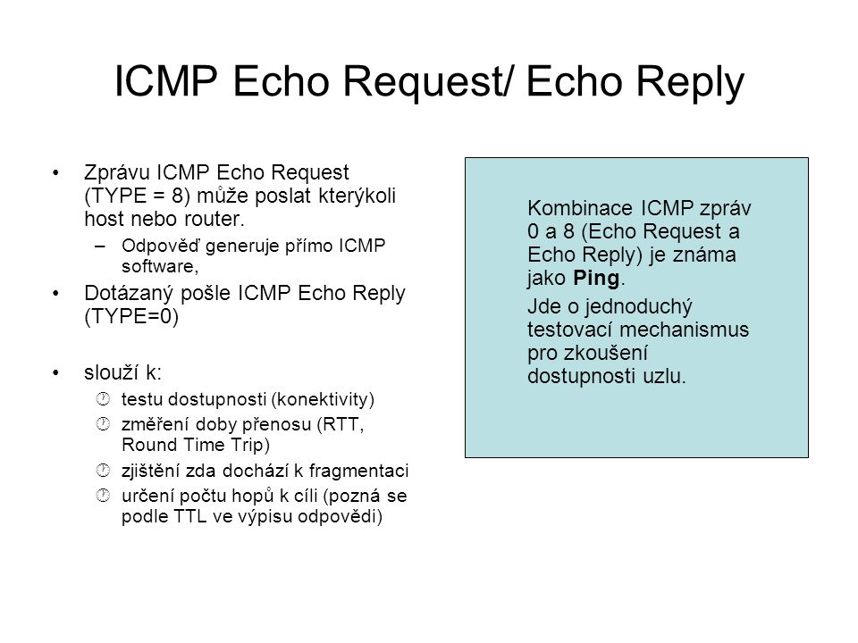 ICMP Echo Request/ Echo Reply