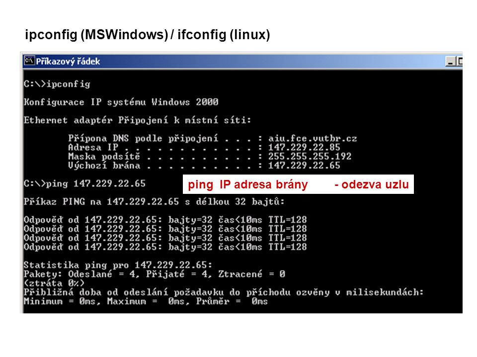 ipconfig (MSWindows) / ifconfig (linux)