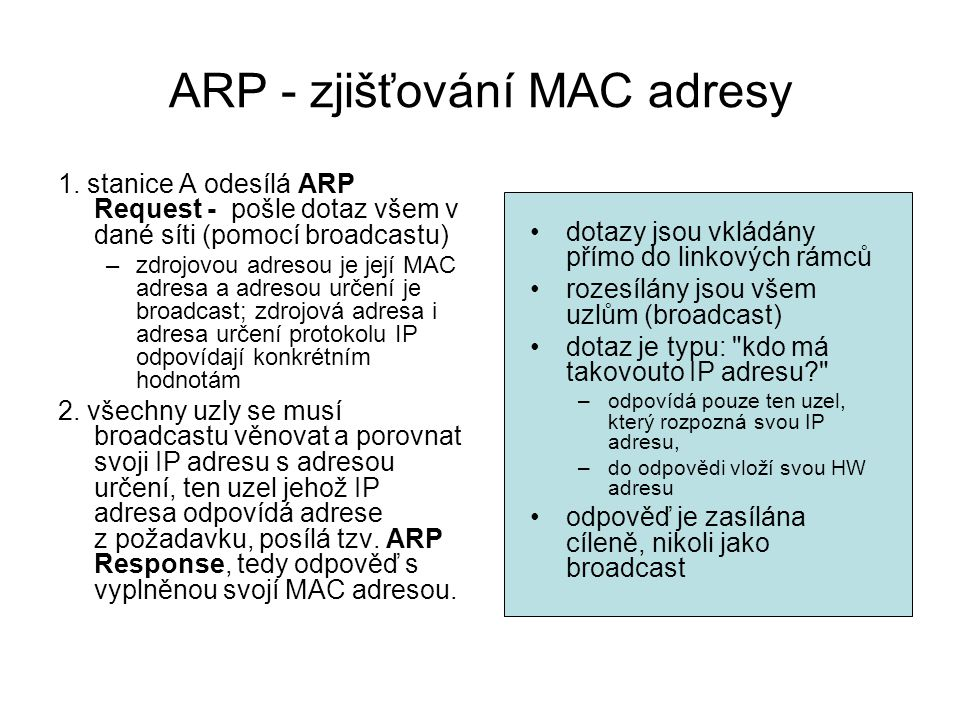 ARP - zjišťování MAC adresy