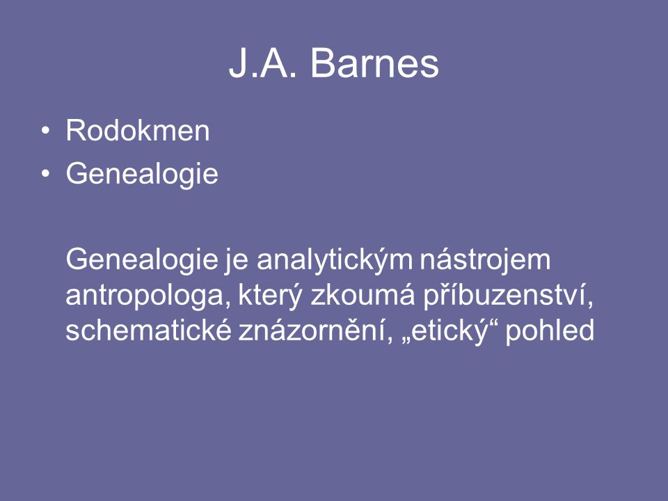 J.A. Barnes Rodokmen Genealogie