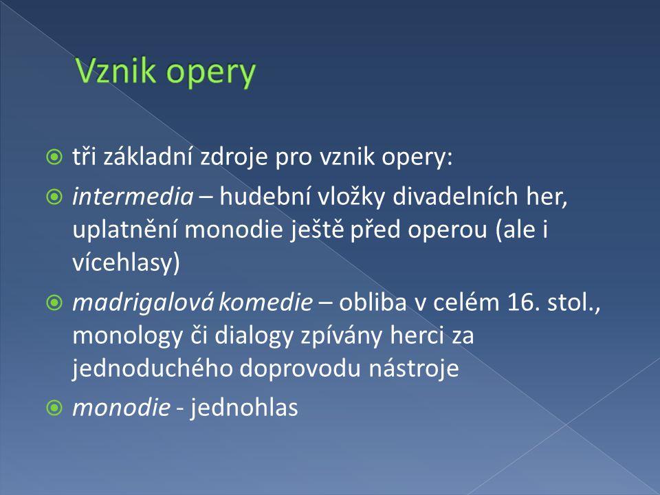 Vznik opery tři základní zdroje pro vznik opery:
