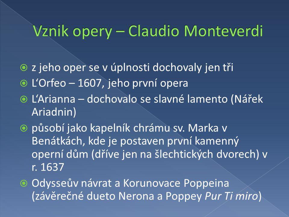 Vznik opery – Claudio Monteverdi