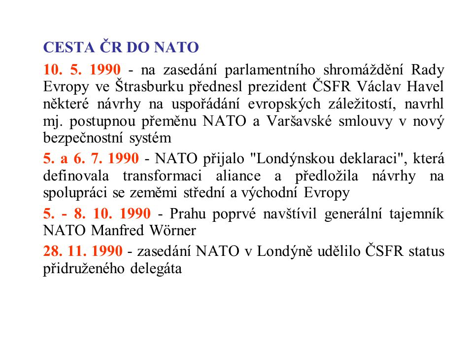 CESTA ČR DO NATO