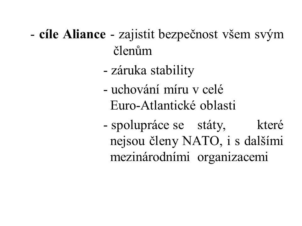 - cíle Aliance - zajistit bezpečnost všem svým členům
