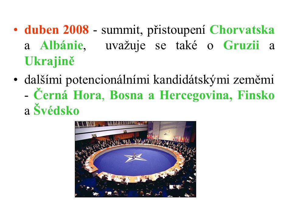 duben 2008 - summit, přistoupení Chorvatska a Albánie, uvažuje se také o Gruzii a Ukrajině