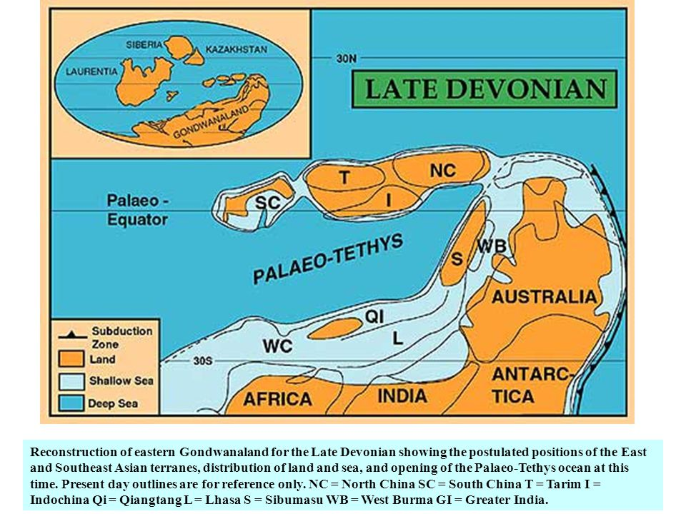 Reconstruction of eastern Gondwanaland for the Late Devonian showing the postulated positions of the East and Southeast Asian terranes, distribution of land and sea, and opening of the Palaeo-Tethys ocean at this time.