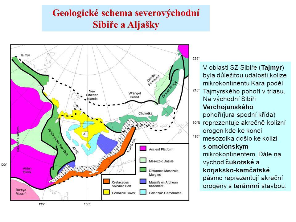 Geologické schema severovýchodní Sibiře a Aljašky