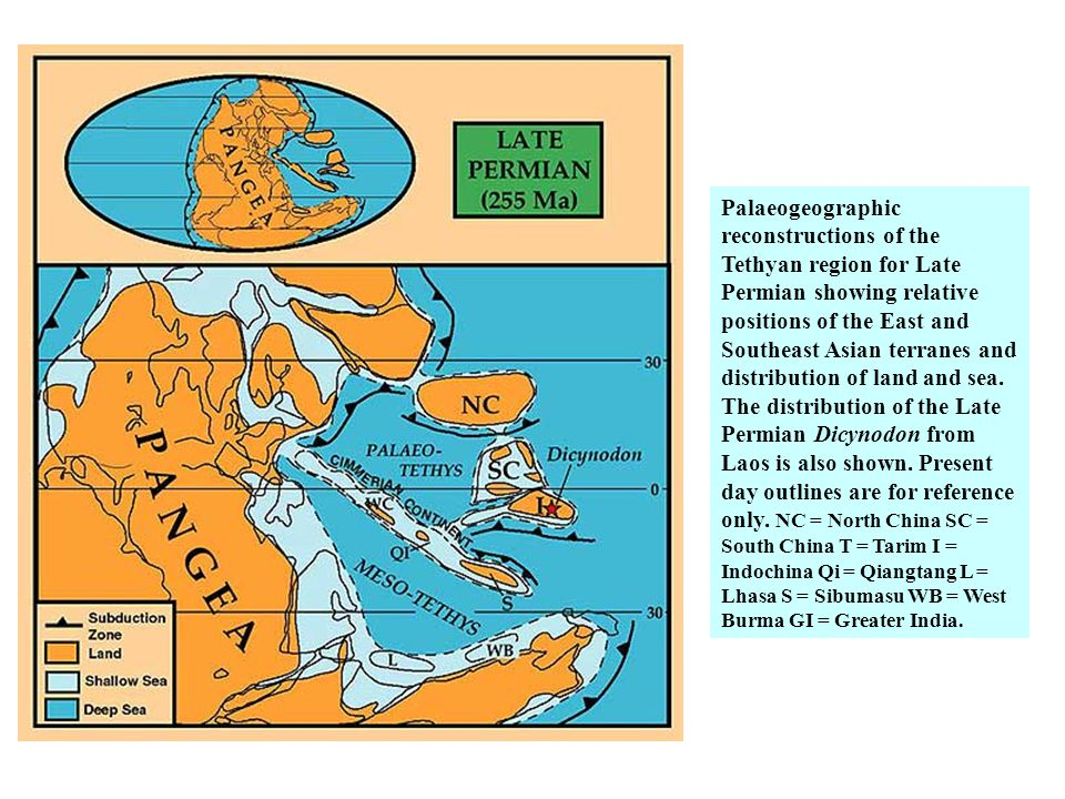 Palaeogeographic reconstructions of the Tethyan region for Late Permian showing relative positions of the East and Southeast Asian terranes and distribution of land and sea.