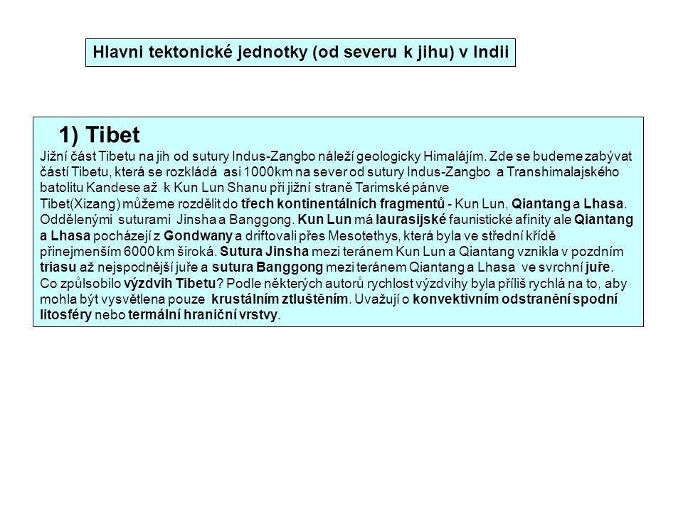 1) Tibet Hlavni tektonické jednotky (od severu k jihu) v Indii