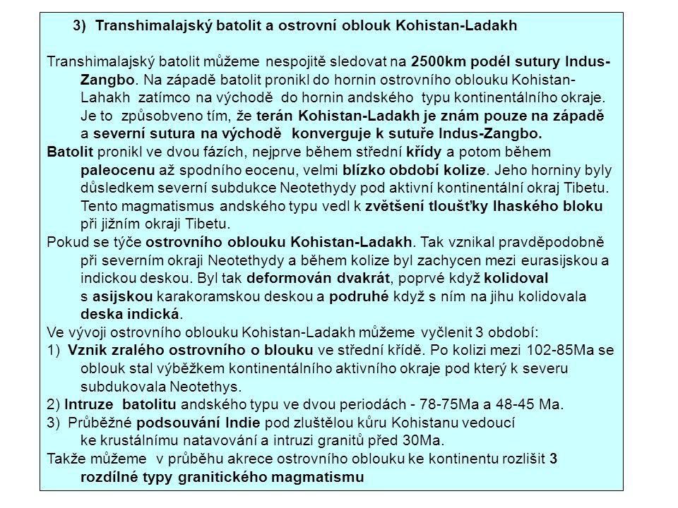 Ve vývoji ostrovního oblouku Kohistan-Ladakh můžeme vyčlenit 3 období: