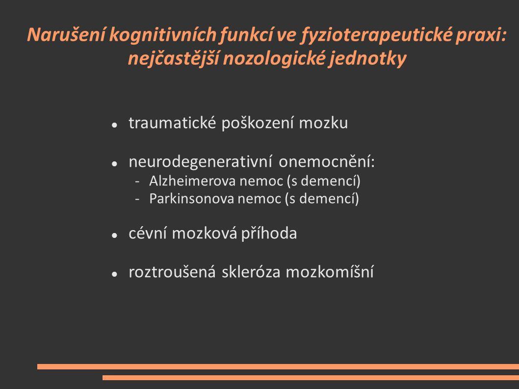 Narušení kognitivních funkcí ve fyzioterapeutické praxi: nejčastější nozologické jednotky