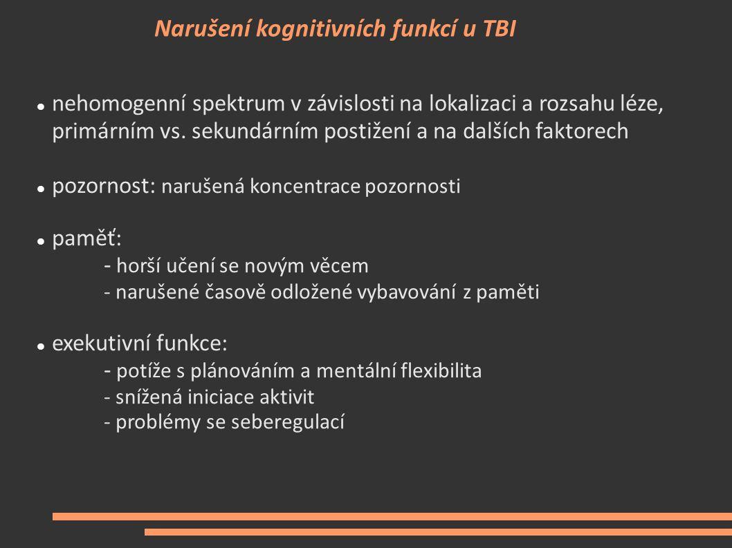 Narušení kognitivních funkcí u TBI