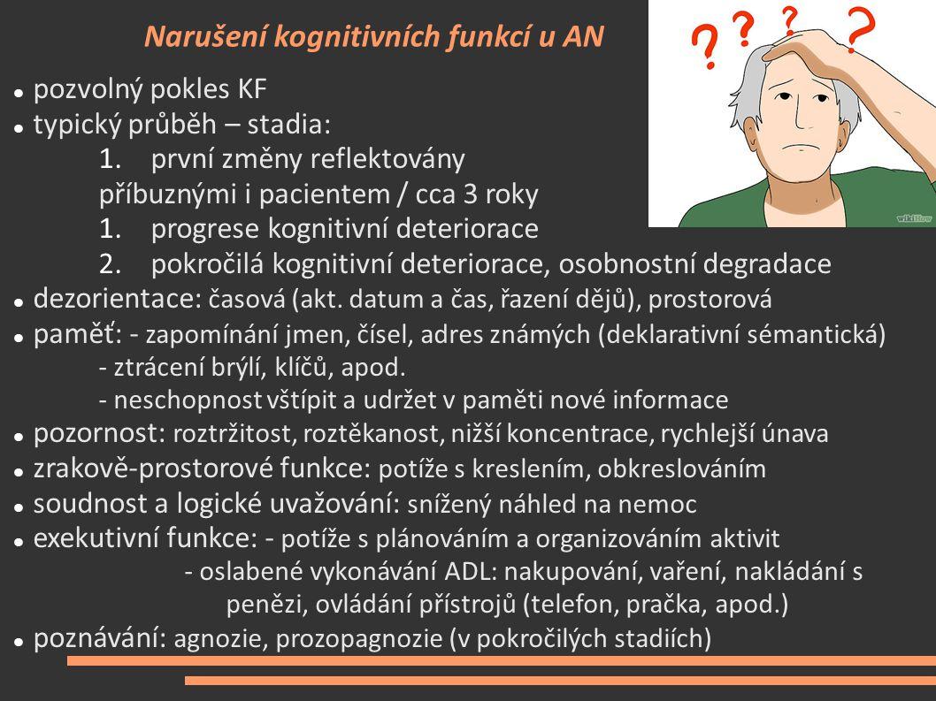 Narušení kognitivních funkcí u AN