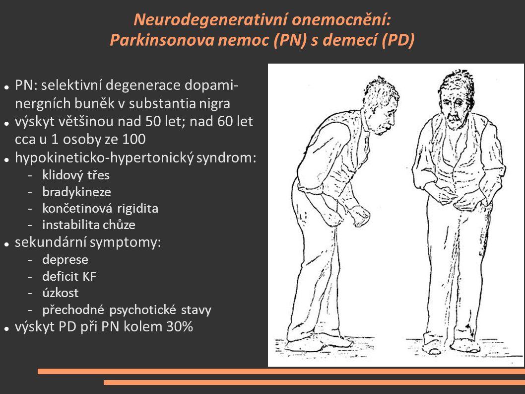 Neurodegenerativní onemocnění: Parkinsonova nemoc (PN) s demecí (PD)