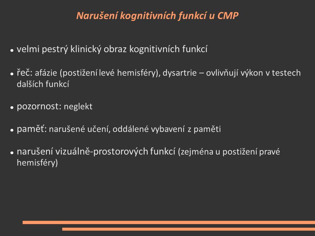 Narušení kognitivních funkcí u CMP