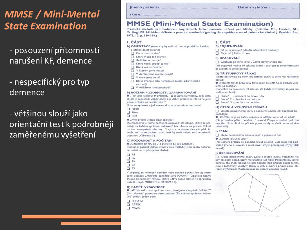 MMSE / Mini-Mental State Examination