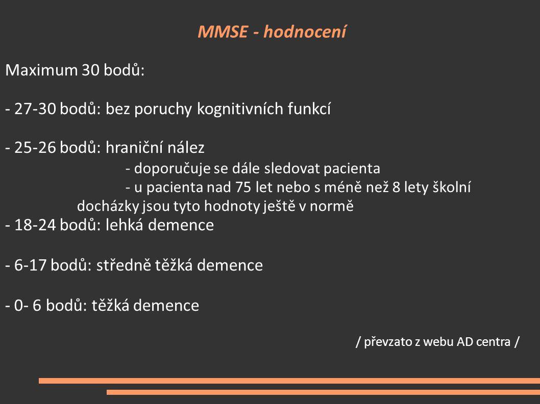 MMSE - hodnocení Maximum 30 bodů: