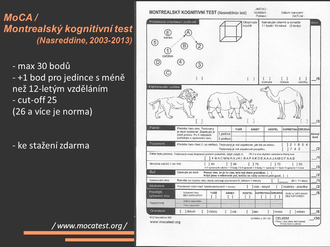 MoCA / Montrealský kognitivní test (Nasreddine, 2003-2013)
