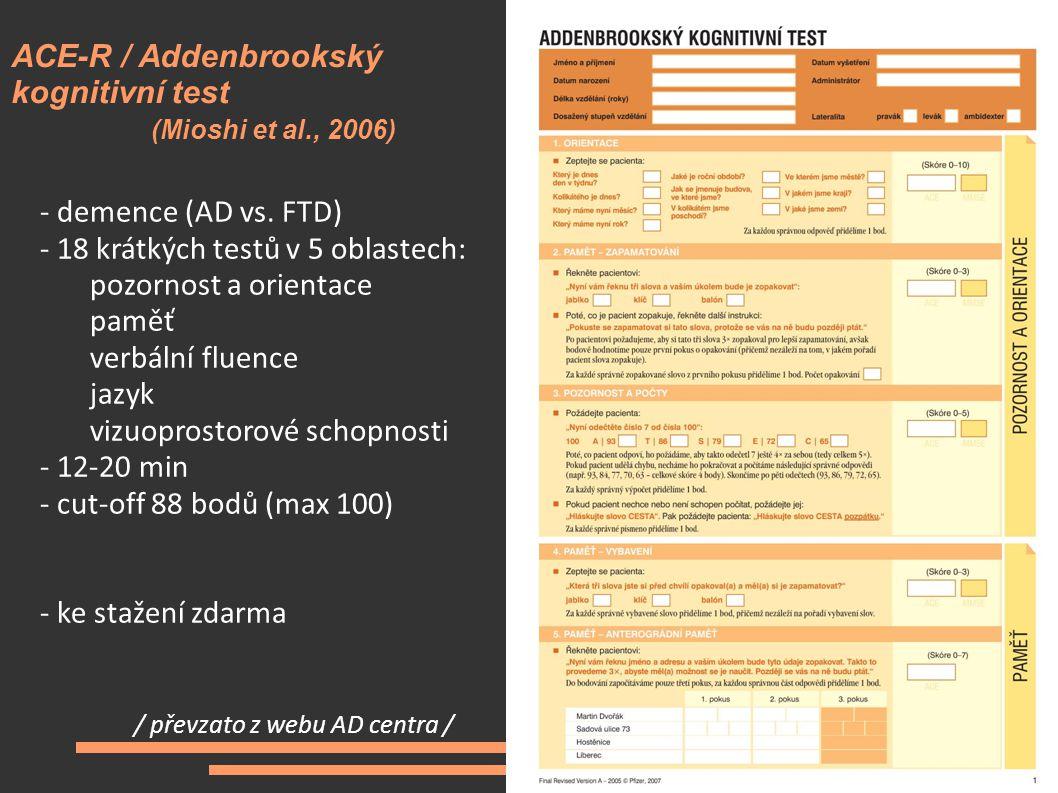 ACE-R / Addenbrookský kognitivní test (Mioshi et al., 2006)