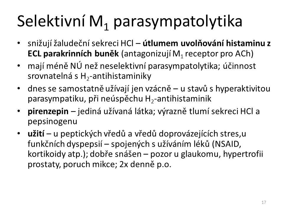 Selektivní M1 parasympatolytika