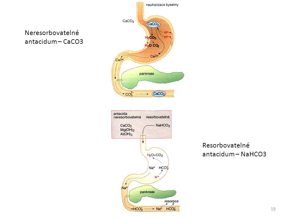 Neresorbovatelné antacidum – CaCO3